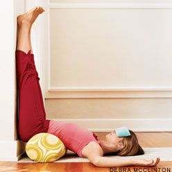 Legs Up The Wall Pose - if you can't do anything, at least do this. Great for relaxation - calms nervous system, relaxes the mind, rests the heart.