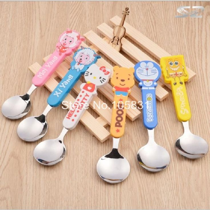 10X Baby lovely cartoon spoon ladle children creative students dessert stainless steel tableware kitchen table KT spoons