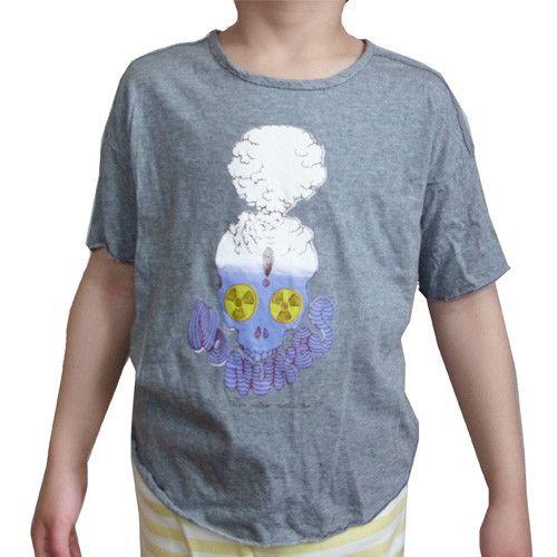 Mongoloizオリジナルの「No Nukes」デザインがプリントされたキッズサイズのTシャツ。霜降りグレーのコットン生地です。プリントはパープルのみ。コッ... ハンドメイド、手作り、手仕事品の通販・販売・購入ならCreema。