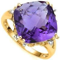 EXCLUSIVE !  6.21 CARAT AMETHYST & (8 PCS) DIAMOND 10KT SOLID GOLD RING