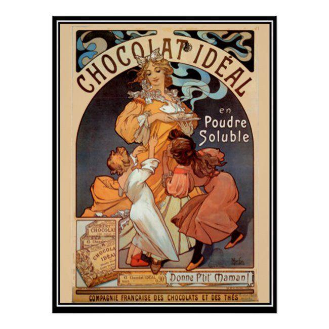 Vintage Poster Alphonse Mucha Chocolate Ad Zazzle Com In 2020