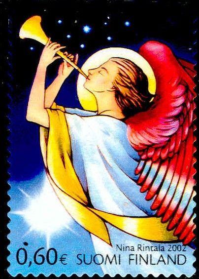 Joulupostimerkki 2002 2/2 - Enkeli soittaa torvea