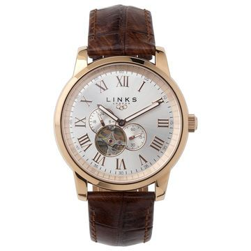 17 best images about men s watches shops jewellery buy our noble mens rose gold plate brown leather automatic watch at links of london next day delivery available delivery on orders over