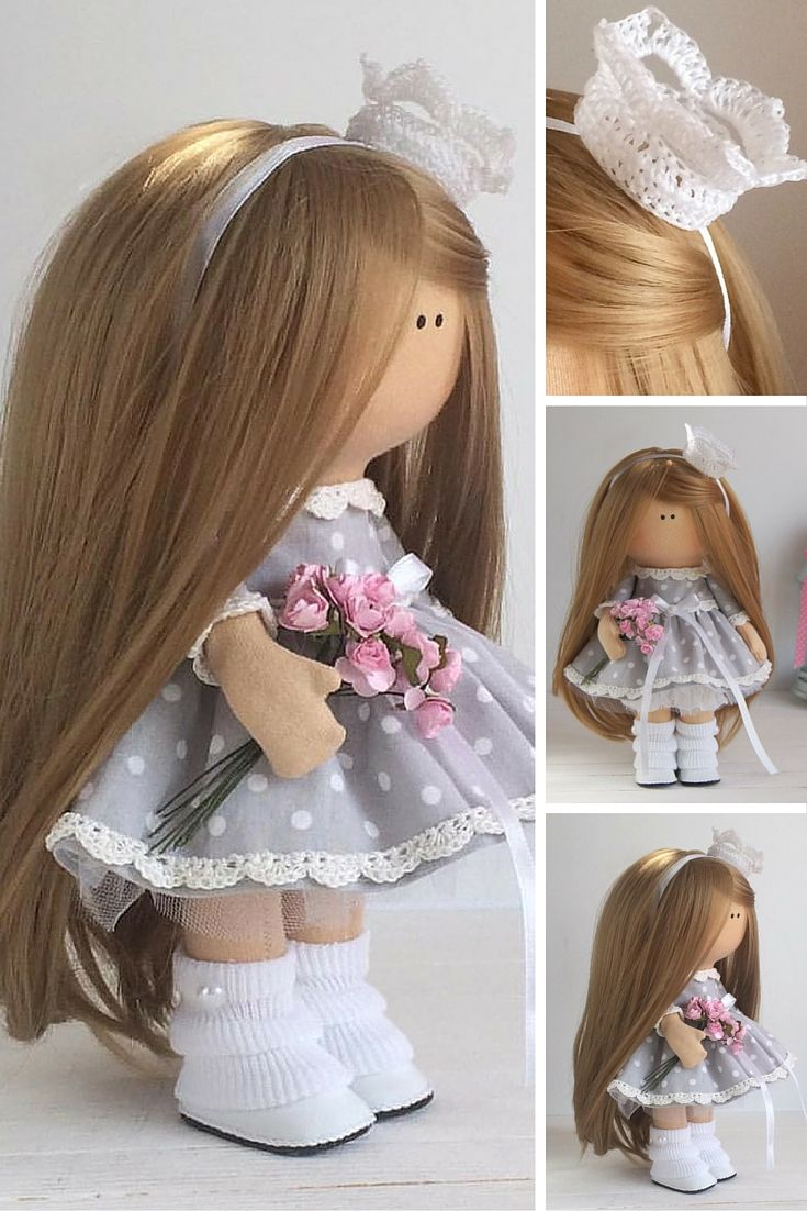 Princess doll handmade Tilda doll Interior doll Art doll brown brown grey colors Soft doll Cloth doll Fabric doll by Master Maria Lazareva