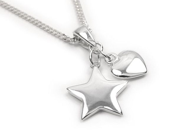 Silver Pendant - Heart and Star