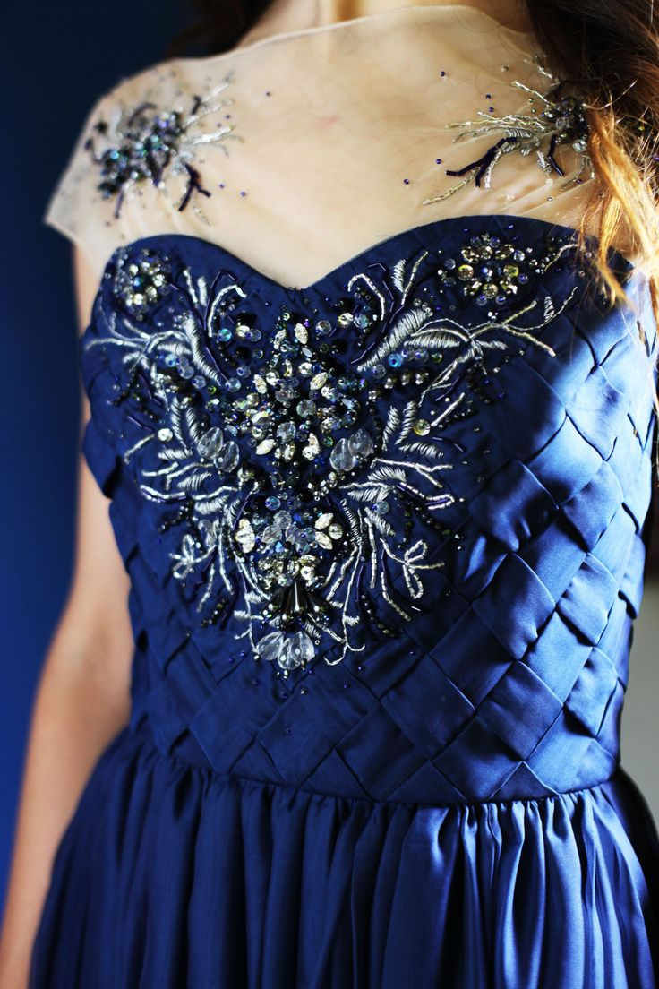 SS 2016 IMAGO Collection - The Blue Waves Gown - details of the handmade embroidery on the top