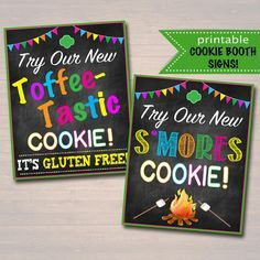 Printable Girl Scouts Cookie Booth Signs, S'mores and Toffee-Tastic, 2017 New Cookie Flavors, Girl Scout Leader, Troop Cookie Sales Goals