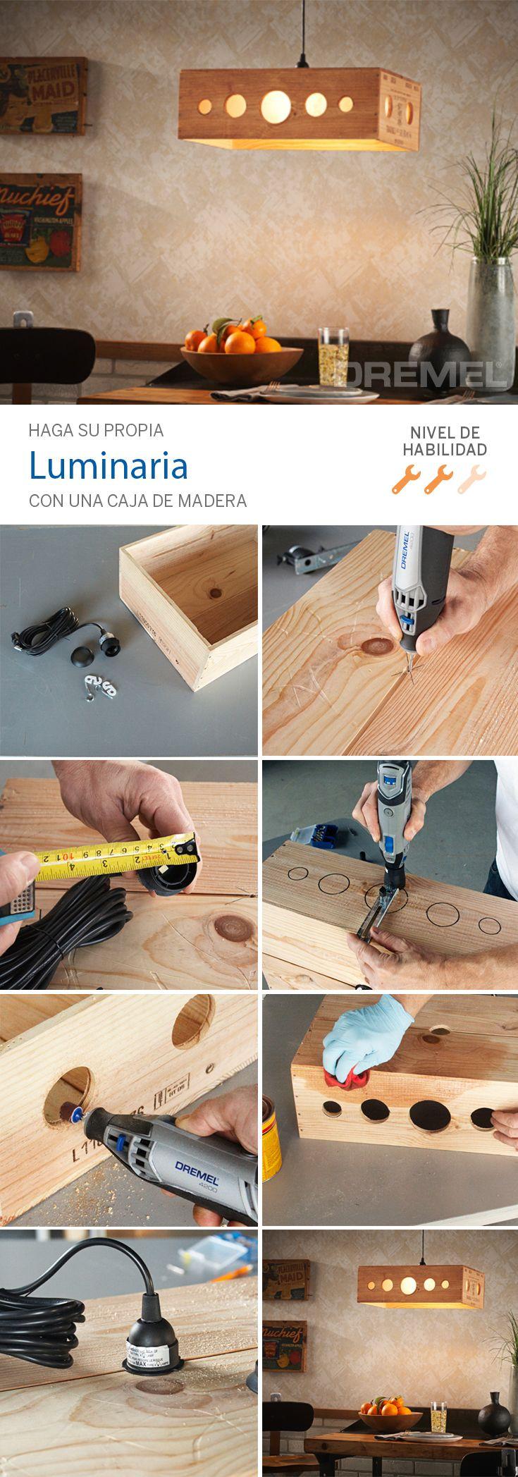 Haga su propria luminaria utilizando una caja de madera!