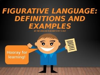 Looking for a way to introduce or review figurative language terms to your students? Figurative Language definitions and examples included in this product are simile, metaphor, onomatopoeia, hyperbole, personification, irony, alliteration, allusion, symbolism, imagery, and oxymoron.