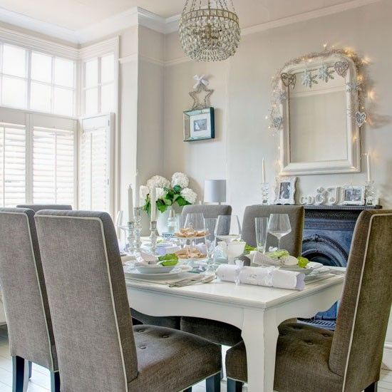 Elegance Grey Cream Traditional Dining Room Design With Silver Cutlery Set