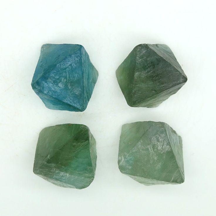 4 Large Octagonal Green Fluorite Crystals - 72g