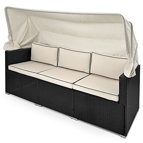 Rattan Sofa Bench Day-Bed Black Outdoor Patio Wicker Furniture Comfortable Recliner Bed Chair with Sun Canopy