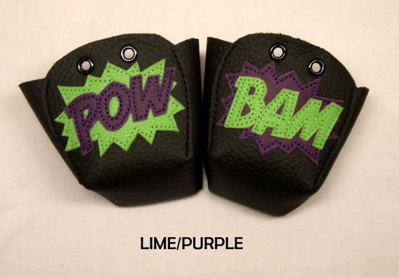 Pick your Colour Black leather Roller Derby skate toe guards with Pow Bam inverted colours on Etsy, $35.66
