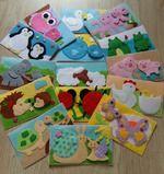 """Развивающие карточки из фетра """"Мама и малыш"""". В наборе 15 карточек, малыши на липучке. Некоторые карточки имеют тактильные Пуговки и бусины. Размер 10,5х18 см.  Для детей от 6 месяцев"""
