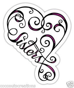 Sisters Heart Tattoo Decal