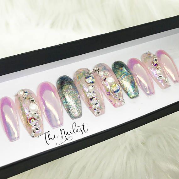 79769ae6fd5 Pastel Pink Unicorn Ombre Holochrome Swarovski Crystal Press Unicorn Nails,  Press On Nails, 3d
