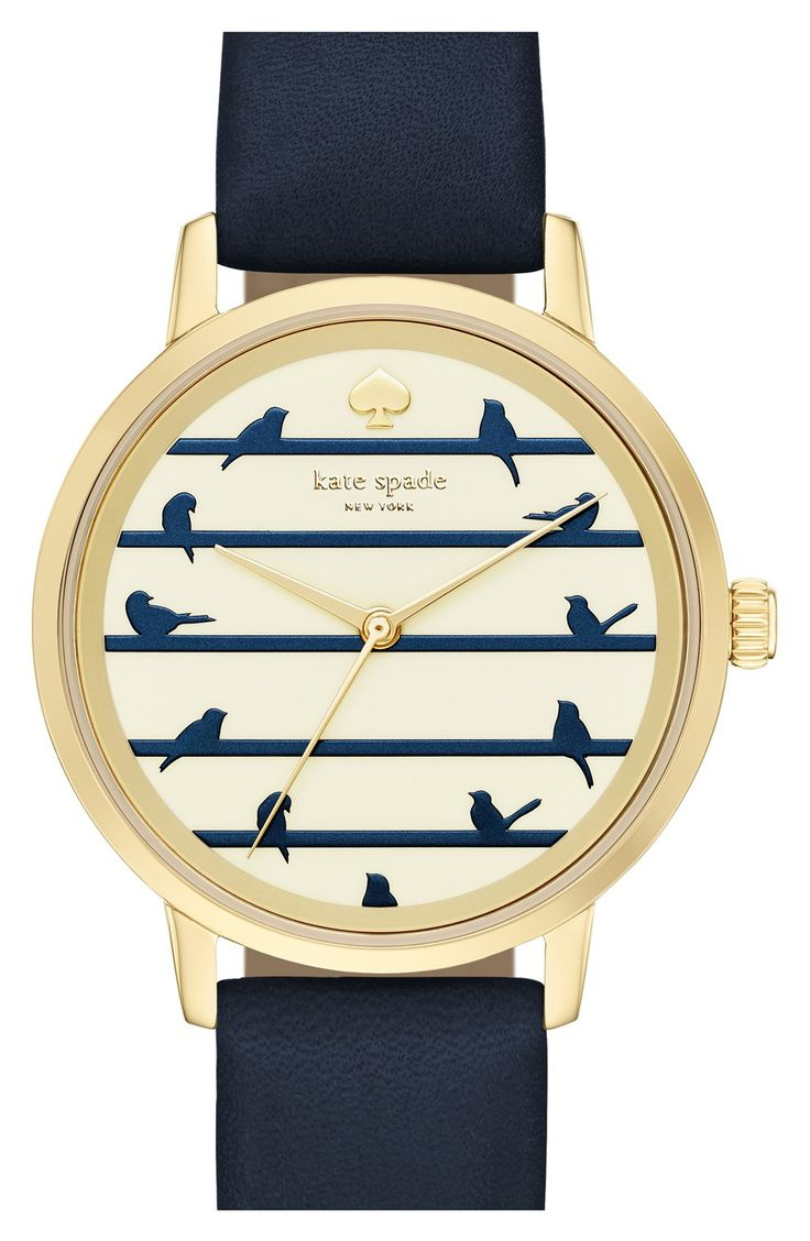 Perching birds adorn this charming novelty dial of a lovely wristwatch from Kate Spade.