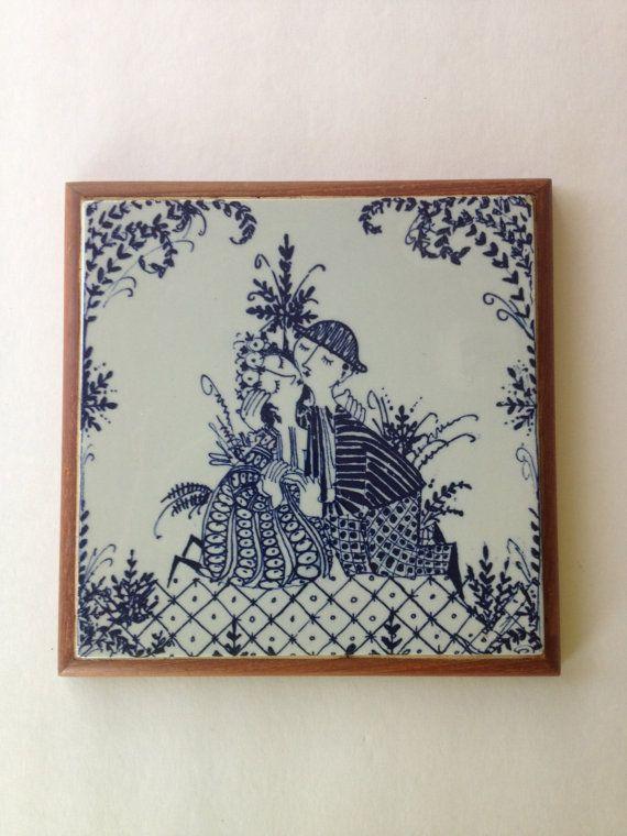 Vintage Lotte Figgjo Flint Turi Design Norway Tile Trivet