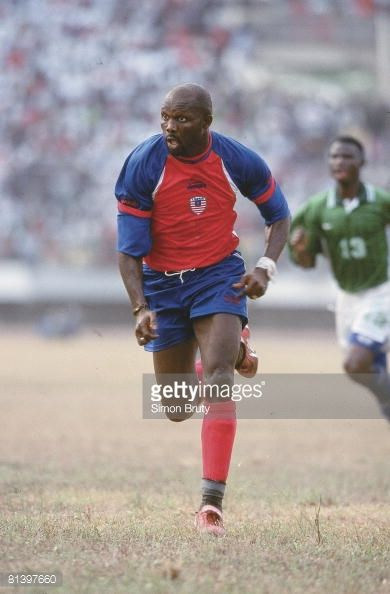 Soccer World Cup Qualifying LIB George Weah in action vs Sierra Leone Monrovia Liberia 2/24/2001