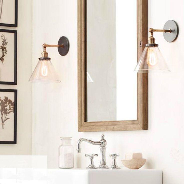 Amazon.co.jp: LIXADA ガラス製 田舎風 レトロ ウォールライト 壁取り付け用ライトE27口金 電球無し ベッドルーム/階段/ミラー/バルコニーに適し: DIY・工具