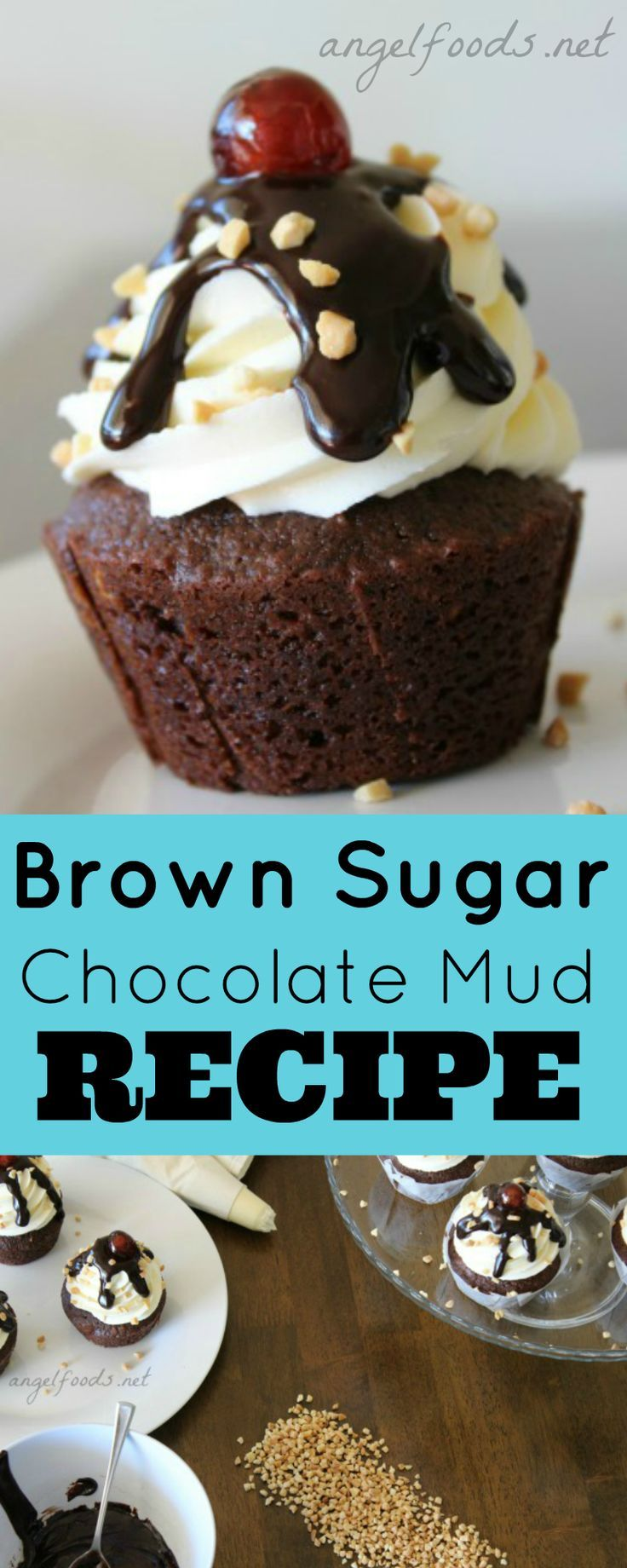 Brown Sugar Choc Mud Cupcake Recipe | A rich, caramel, fudgy chocolate mud cake cupcake with brown sugar, this recipe is ridiculously easy! It looks like a chocolate sundae or carnival cupcake with chocolate ganache drizzle and cherry on top. | http://angelfoods.net/brown-sugar-chocolate-mud-cake-cupcake-recipe/