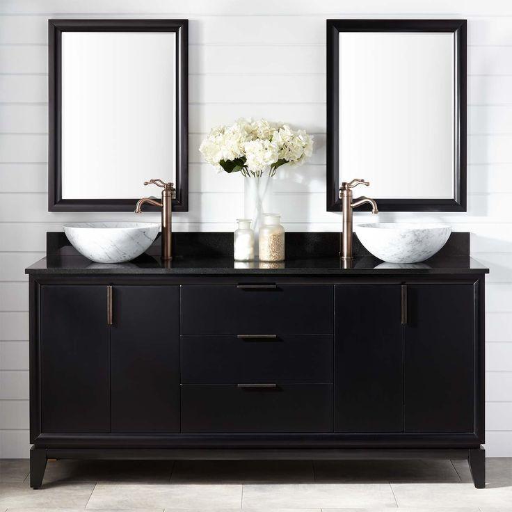 72 talyn mahogany vessel sink double vanity black on vanity bathroom id=25860