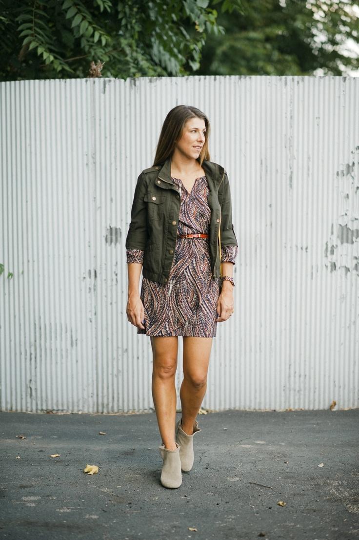 Fall Favorites * Dress & Military Jacket * @ShoeMint Booties * Yellow Purse