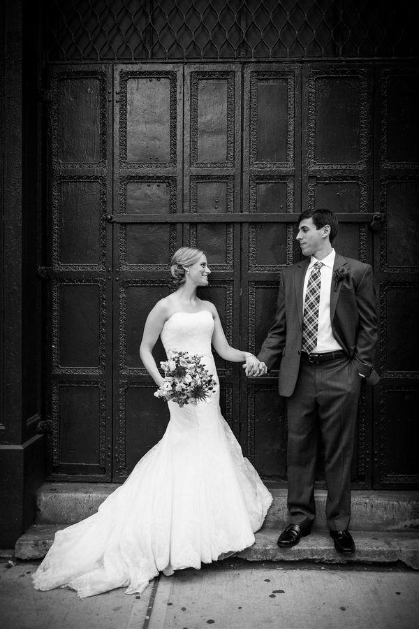Beautiful black and white wedding portrait