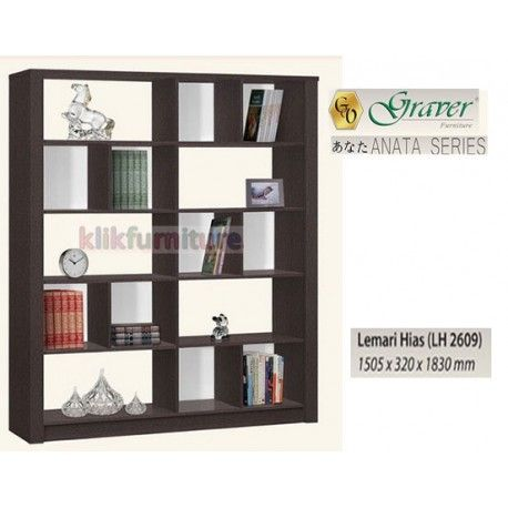 Harga LH 2609 Graver Anata Condition:  New product  Lemari Hias / Pajangan ANATA Series Graver bahan particle board ukuran 1505 x 320 x 1830 mm