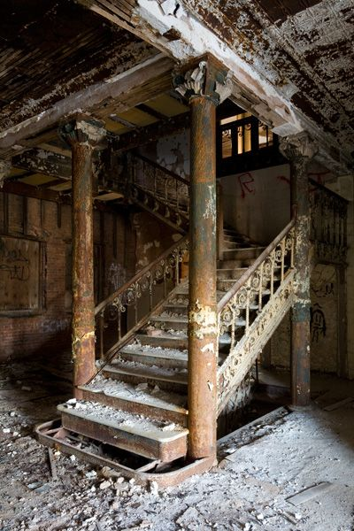 Grand staircase in the abandoned Samuel R. Smith Infirmary building on Staten Island.