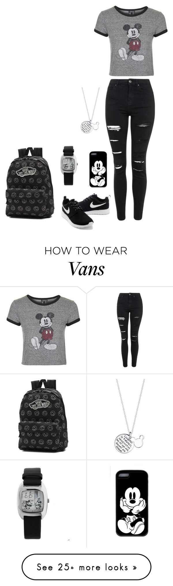 """Untitled #239"" by kasia206648 on Polyvore featuring Topshop, Disney, NIKE and Vans"
