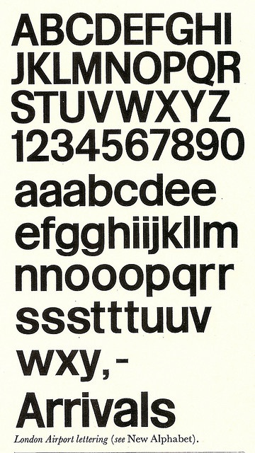 London Airport Lettering typeface by Matthew Carter/Frederick Gibberd, 1961 | Flickr - Photo Sharing!