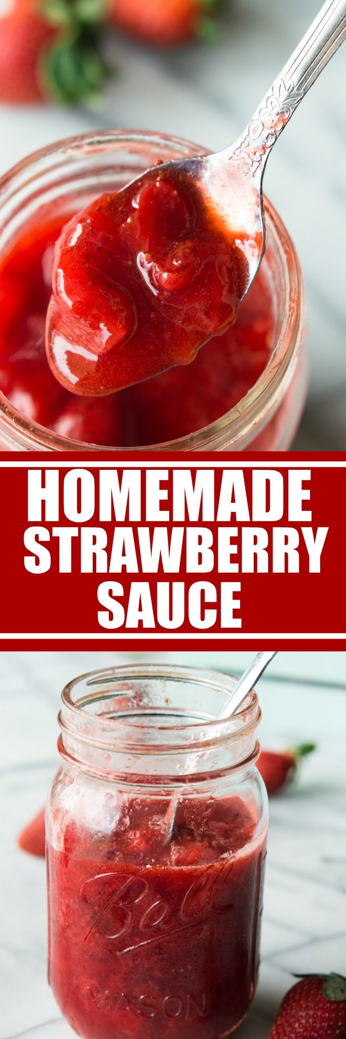 Homemade Strawberry Sauce ❤︎ Leave a like, save this pin and follow more content if you loved this