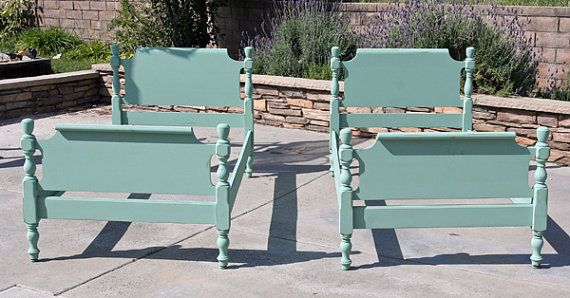 2 Vintage Twin Beds Painted and Distressed in by FooFooLaLaChild, $600.00