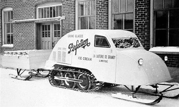 Bombardier B7 Joseph Armand Bombardier did more than just about anybody else to bring us the modern snowmobile and the company he founded is still making world-class snow vehicles today. He built his first commercial snow vehicle, the B7, in the late 1930s after designing a revolutionary track system to drive it. When it's really cold you could deliver ice-cream in a wheelbarrow but this Bombardier snowmobile was modified to do the job in considerably more style