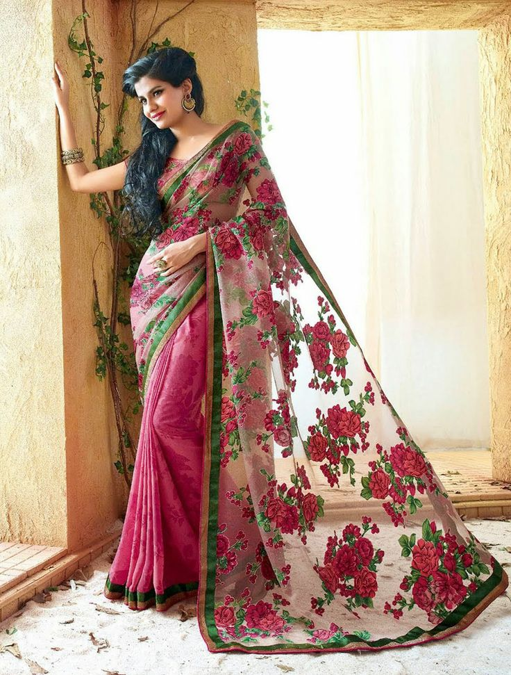 Bring Home This Pink Saree With Beige Blouse At Just Rs. 2,070 At http://goo.gl/0bDjKY