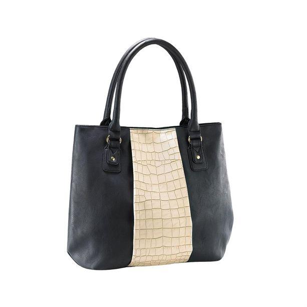 Tágas táska klasszikus, fekete-bézs színpárosítással.