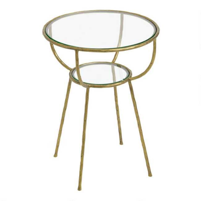 Round Glass And Gold Hammered Metal Hali Accent Table Gold Glass