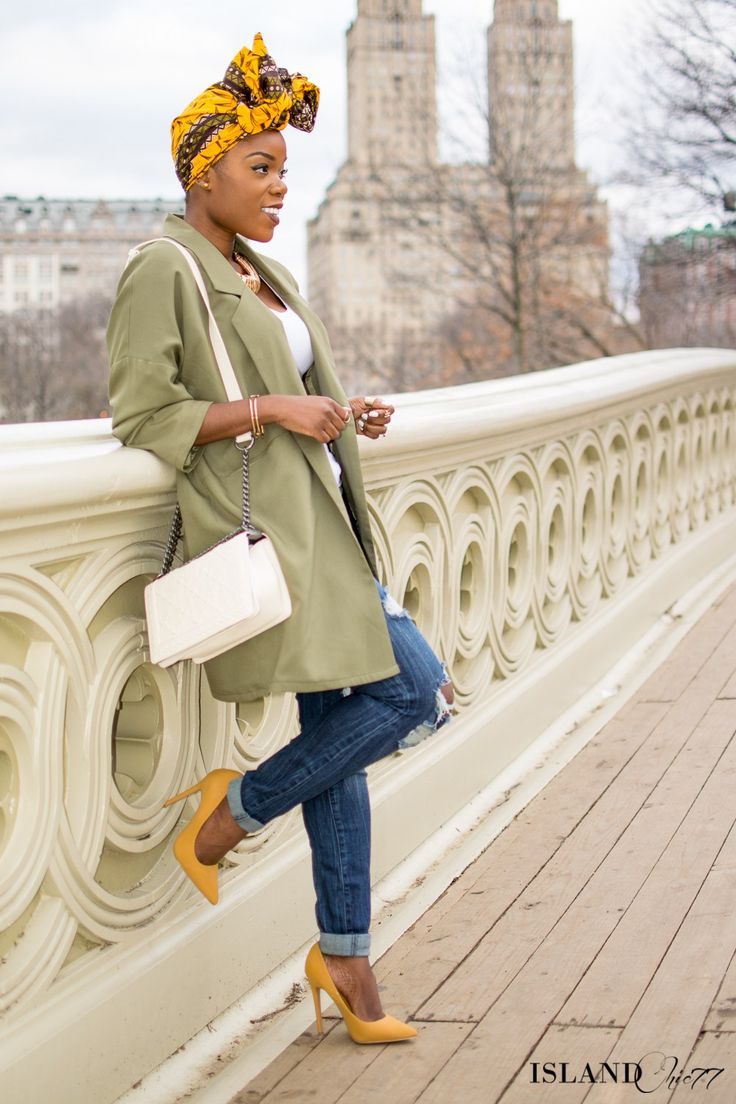 Island Chic 77 |At the Bow Bridge In My Bow Wrap - IslandChic77 | army green | duster coat | heels | pumps | black girls killin it | woc fashion blogger | fashion blog | fashionista | style | ripped denim | casual outfit |