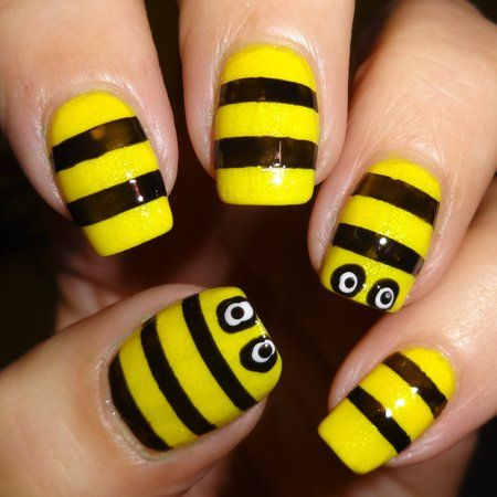 Best 25 bumble bee nails ideas on pinterest pencil nails bee nails using fat stripe vinyls from sparkly nails see more nailart bellashoot prinsesfo Image collections