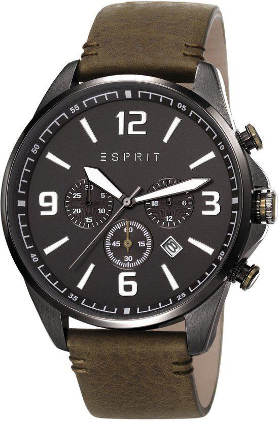 Esprit - Clayton Herenhorloge - Leren band - Zwart (ES108001002)