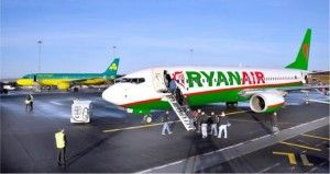 Ryanair plane with Mayo county colours