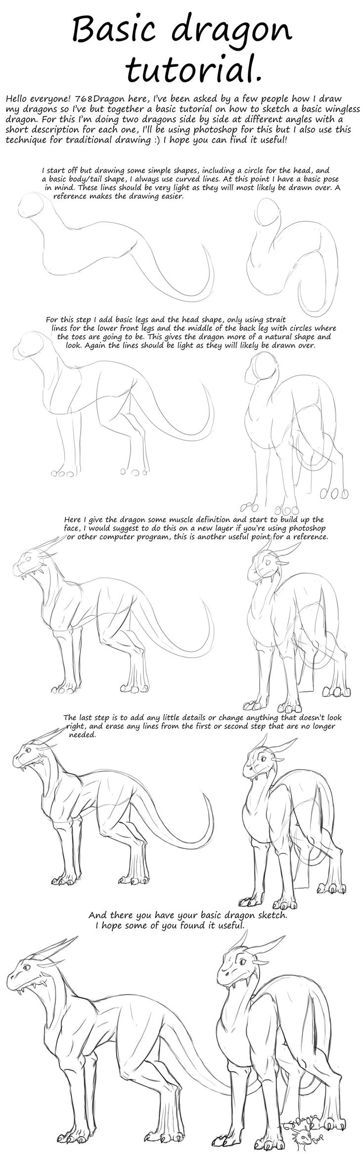 So I've Had Some People Ask Me How I Draw My Dragons, So How To Draw  Dragons In Photoshop