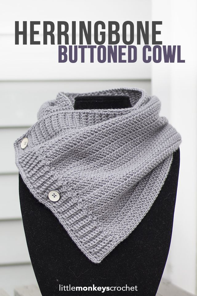 Herringbone Buttoned Cowl Crochet Pattern | Free button cowl crochet pattern by…