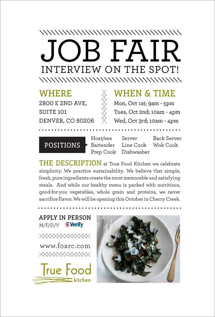 top ideas about job fair interview nails job simple and clean informational flyer design for a culinary job fair by true food kitchen
