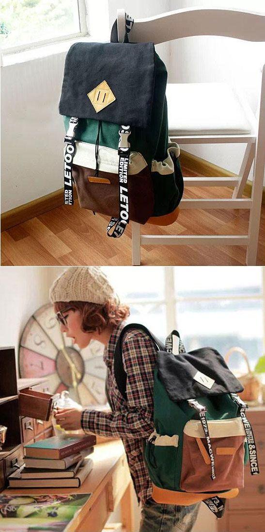 Unique New Trunk Travel Letters Canvas Backpacks for big sale ! #letters #canvas #backpack #bag #trunck #bag #rucksack