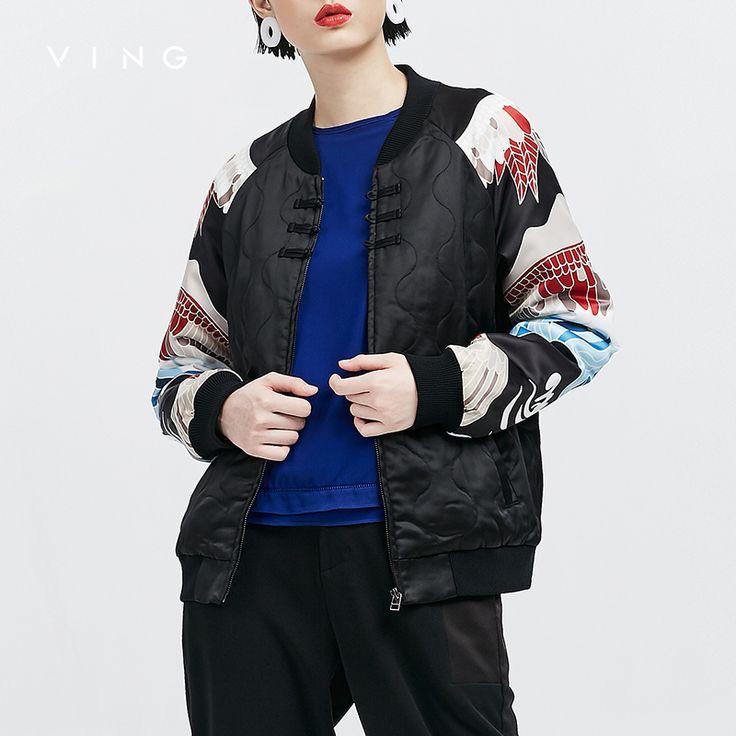 ВИНГ 2016 Осенние Куртки Новый Черный Китайский Аист Шаблон Бейсбол Одежда Женская Сращены Этническом Стилекупить в магазине ToyouthнаAliExpress