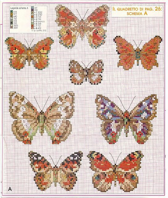 Realistic butterflies cross stitch patterns (6)