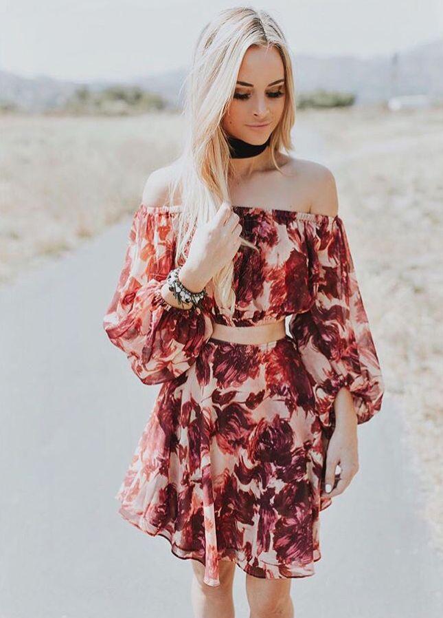 Amanda Stanton in FLL Wild Rose Crop Top and Skirt