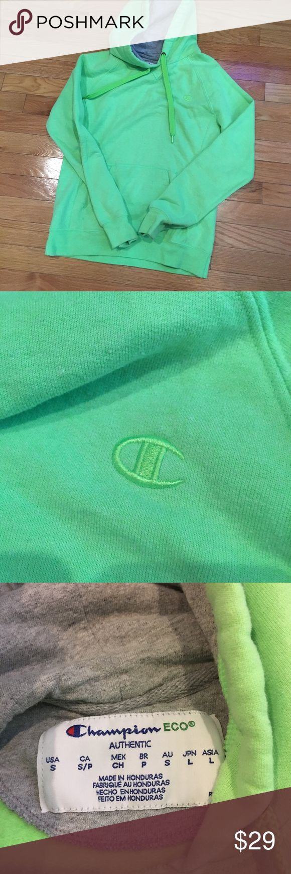 CHAMPION HOODIE Lime green champion hoodie !!!! Not the exact one in the first picture but pretty much the same thing ! Biggest difference is mine has the hood Champion Tops Sweatshirts & Hoodies